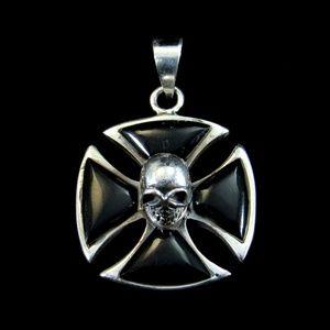 925 Sterling Silver Onyx Iron Cross Skull Pendant